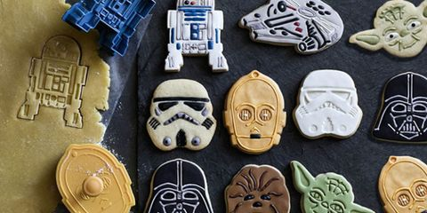 star wars cookie cutters on kitchen counter