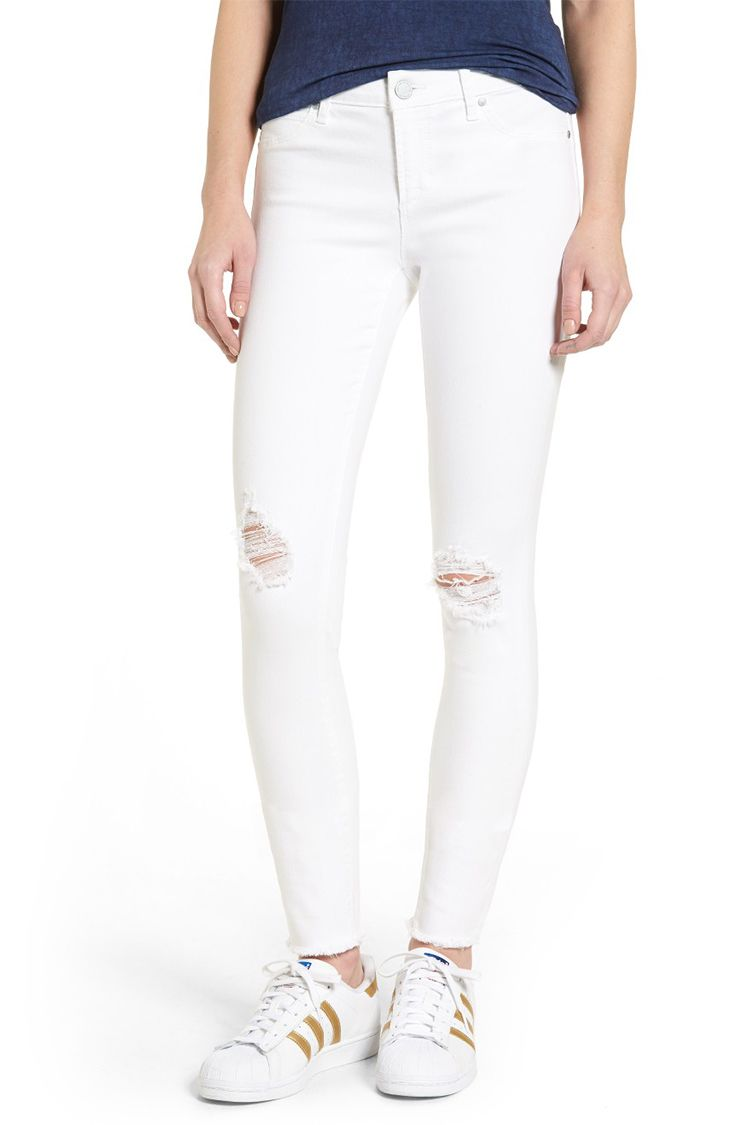 Articles of Society Sarah Distressed Skinny Jeans white