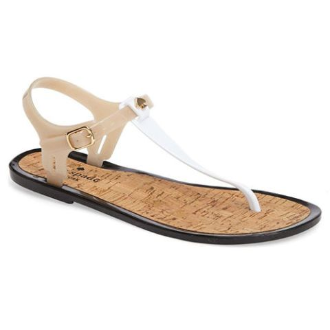 kate spade yari jelly thong sandals black white beige