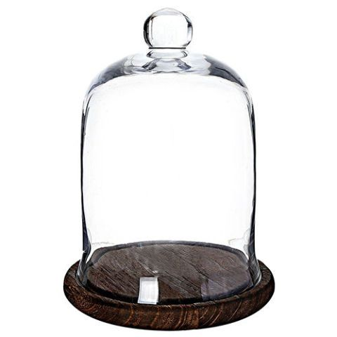 MyGift Clear Glass Jar with Brown Wood Base