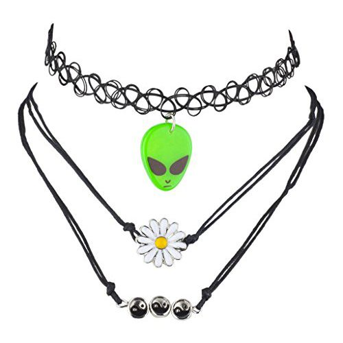 "<p><strong data-redactor-tag=""strong"" data-verified=""redactor""><em data-redactor-tag=""em"" data-verified=""redactor"">$9</em></strong> <a href=""https://www.amazon.com/Lux-Accessories-Hippie-Novelty-Choker/dp/B01KP48ANY/?tag=bp_links-20"" target=""_blank"" class=""slide-buy--button"" data-tracking-id=""recirc-text-link"">BUY NOW</a></p><p>This necklace is basically like killing four '90s birds with one stone. Between the choker, the alien, the daisy, and the yin-yangs, you might just explode and morph into the puddle from <em data-redactor-tag=""em"" data-verified=""redactor"">Alex Mack.</em></p><p><span class=""redactor-invisible-space"" data-verified=""redactor"" data-redactor-tag=""span"" data-redactor-class=""redactor-invisible-space""><strong data-redactor-tag=""strong"" data-verified=""redactor"">More: </strong><a href=""http://www.bestproducts.com/fashion/accessories/g101/choker-necklaces-we-love/"" target=""_blank"" data-tracking-id=""recirc-text-link"">9 Choker Necklaces to Channel Your Inner Cher Horowitz</a></span></p>"