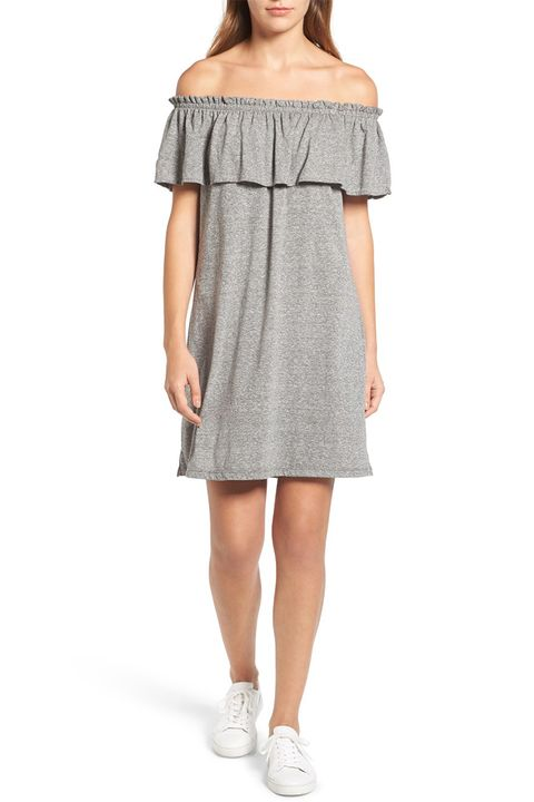 current elliott ruffle gray off the shoulder dress