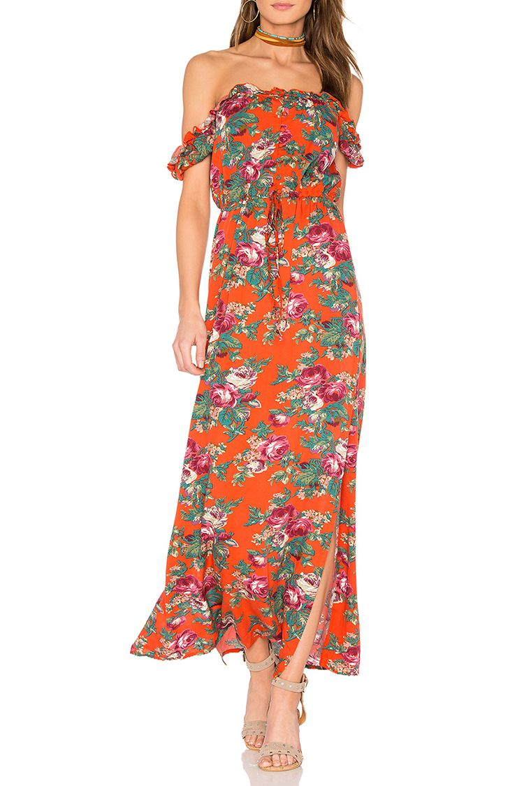 auguste stevie orange floral maxi dress