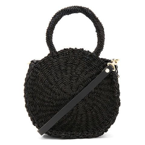 clare v petite alice maison straw black tote bag