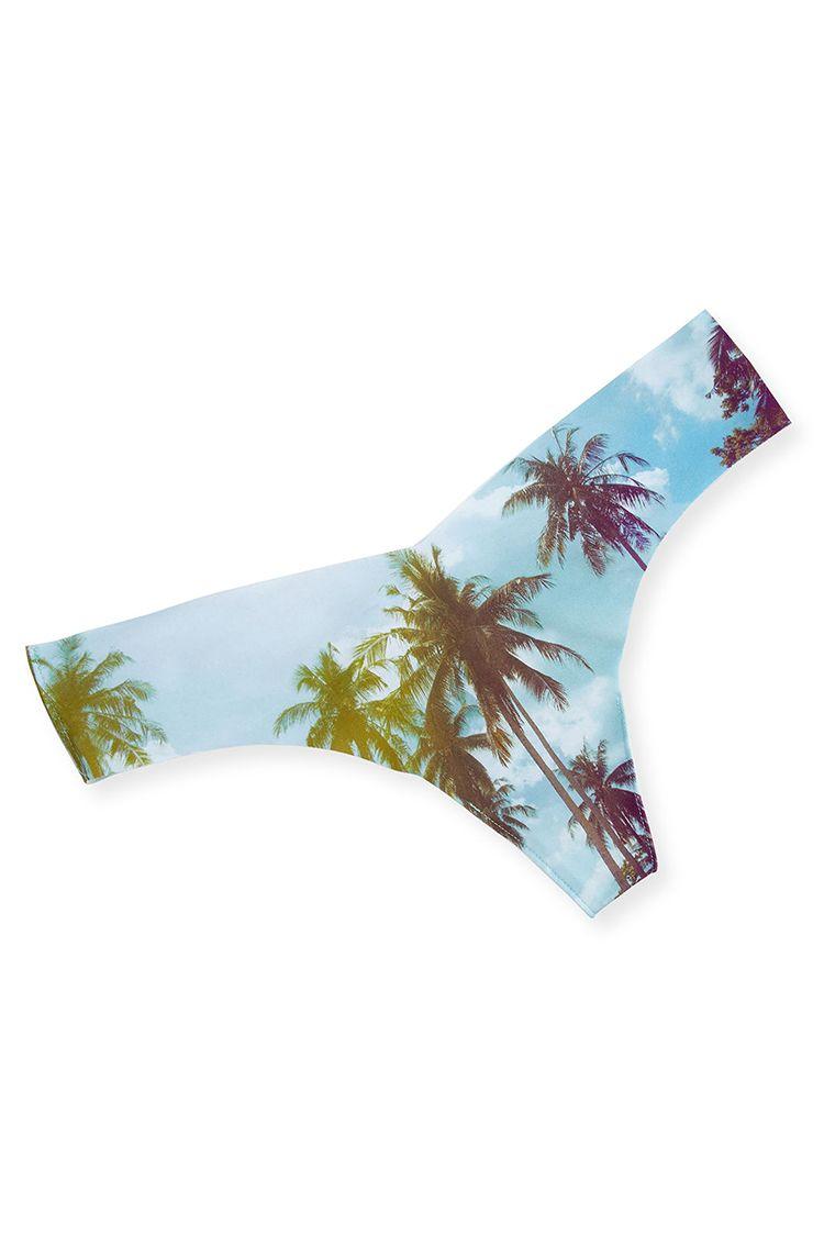 commando palm tree printed thong