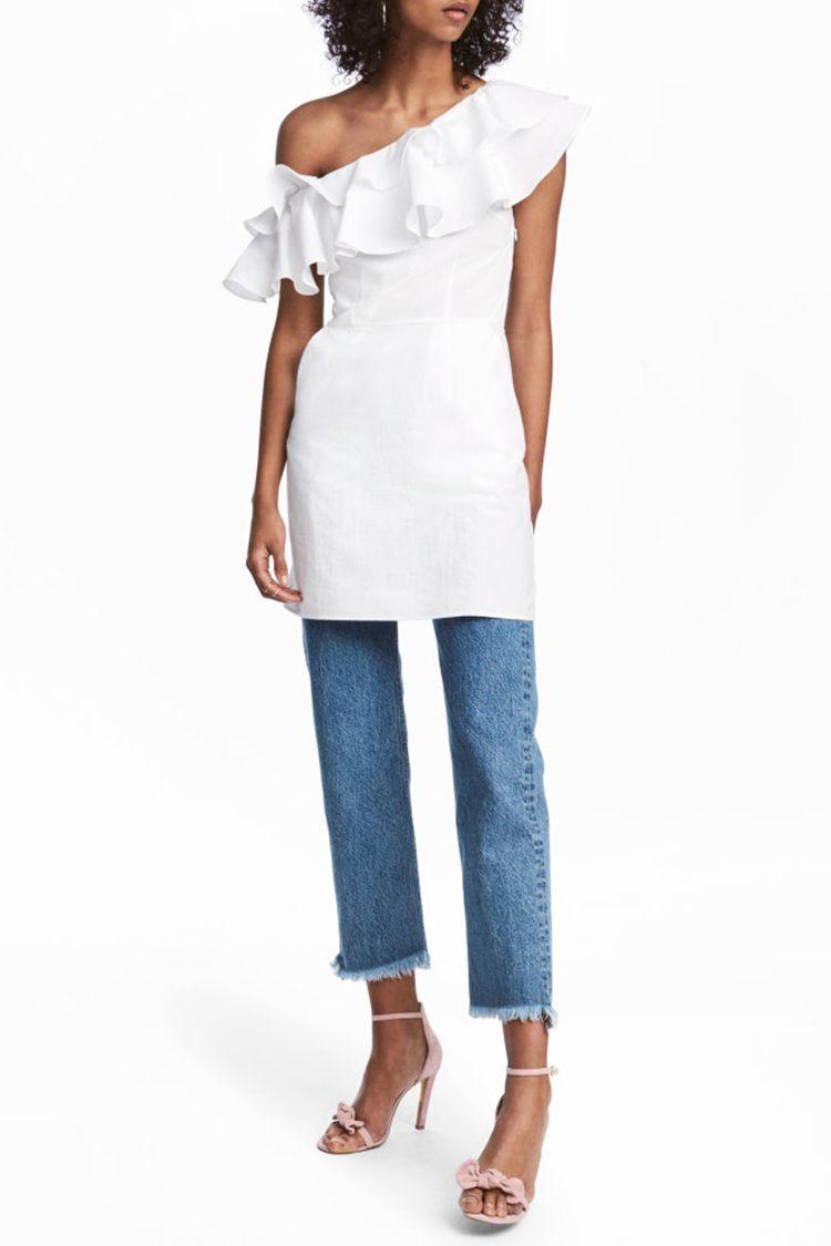h&m ruffled white one shoulder dress