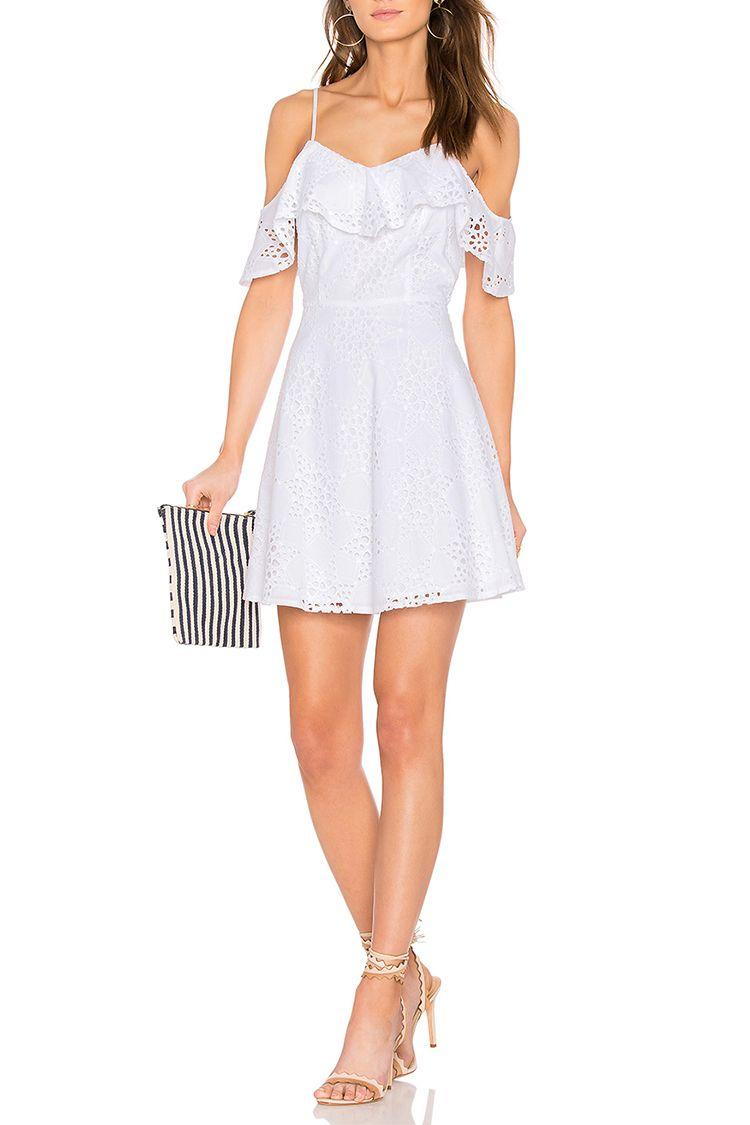joa cold shoulder white lace dress