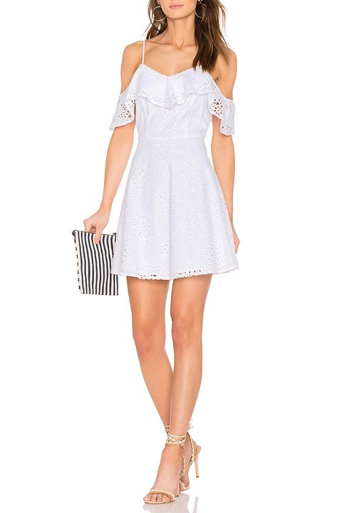 joa cold shoulder white lace dress