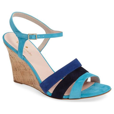 kate spade strappy blue suede wedge sandals