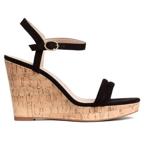 h&m black cork wedges