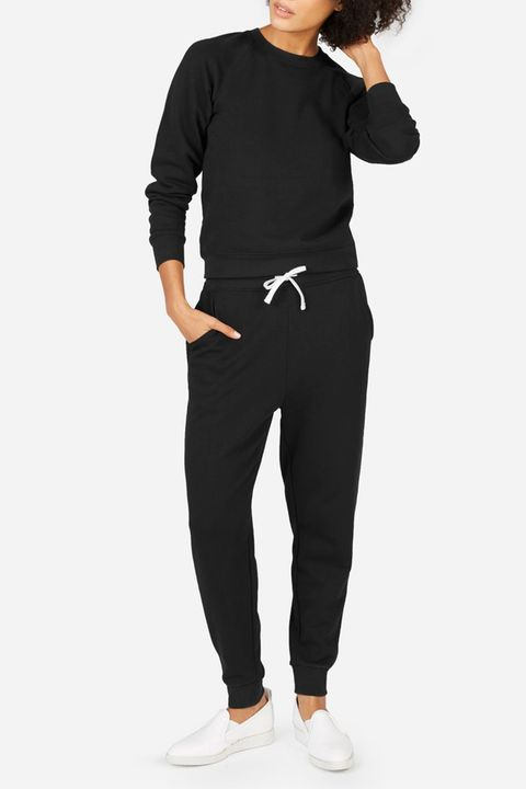 everlane black sweatshirt and joggers
