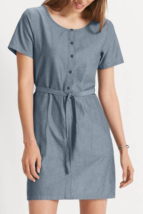 nau twisted blue short sleeve dress