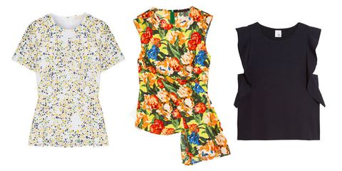 printed and ruffled blouses