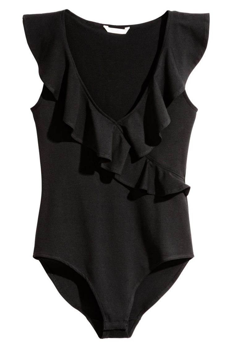 h&m black ruffled bodysuit