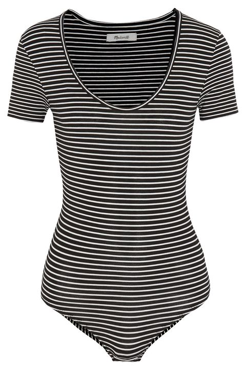 madewell black striped short sleeve bodysuit