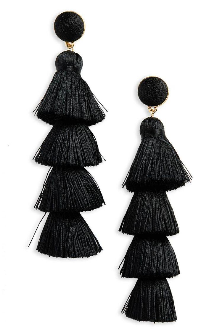 baublebar antonella black tassel earrings