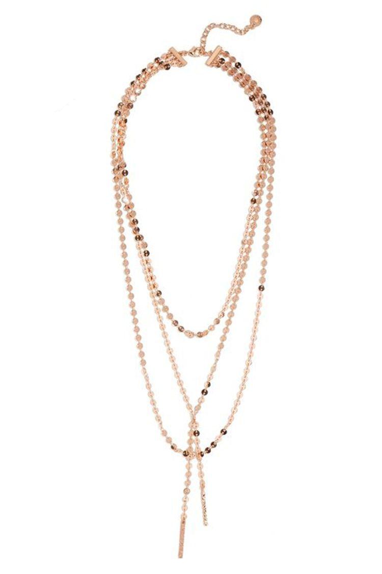 baublebar rose gold layered y necklace