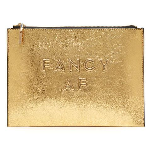 milly fancy af gold clutch bag