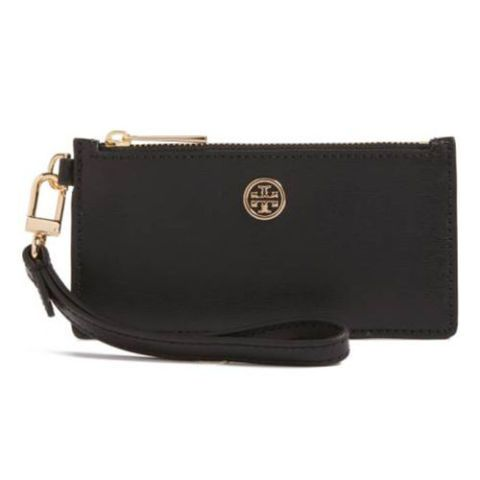 tory burch black leather card case