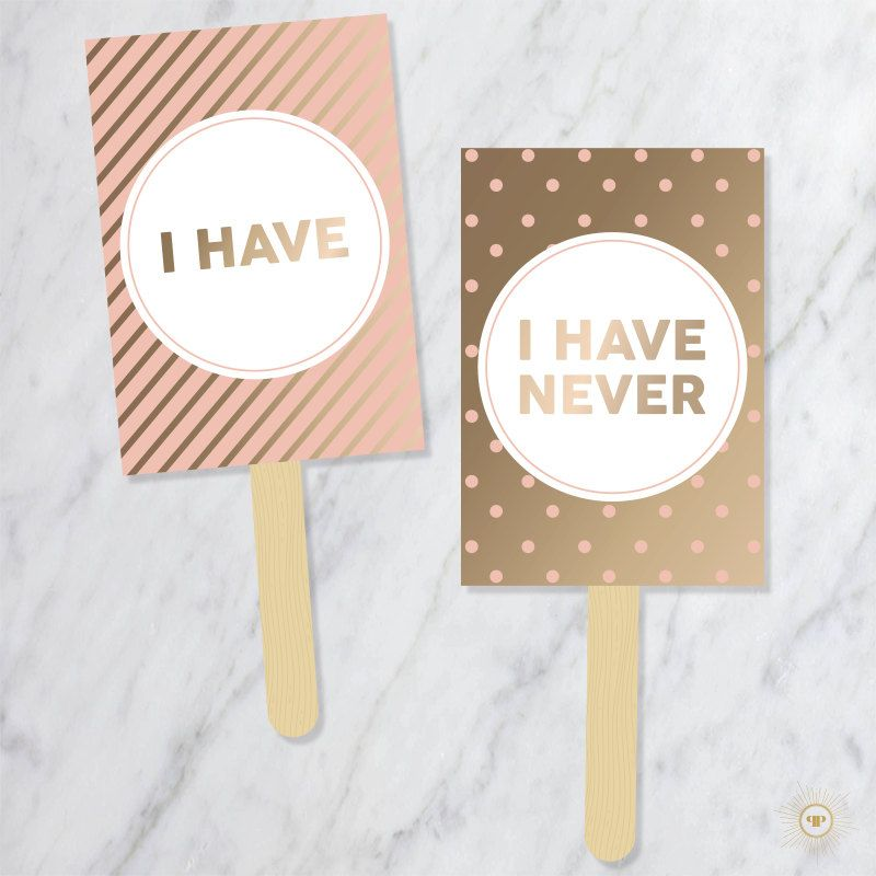 "Prim and Popping ""Never Have I Ever"" Paddles"