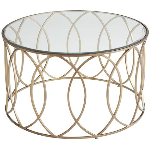 Wood Glass Round Coffee Tables, Round Metal Glass Top Coffee Table
