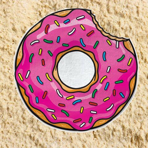 Donut Emoji Round Beach Towel