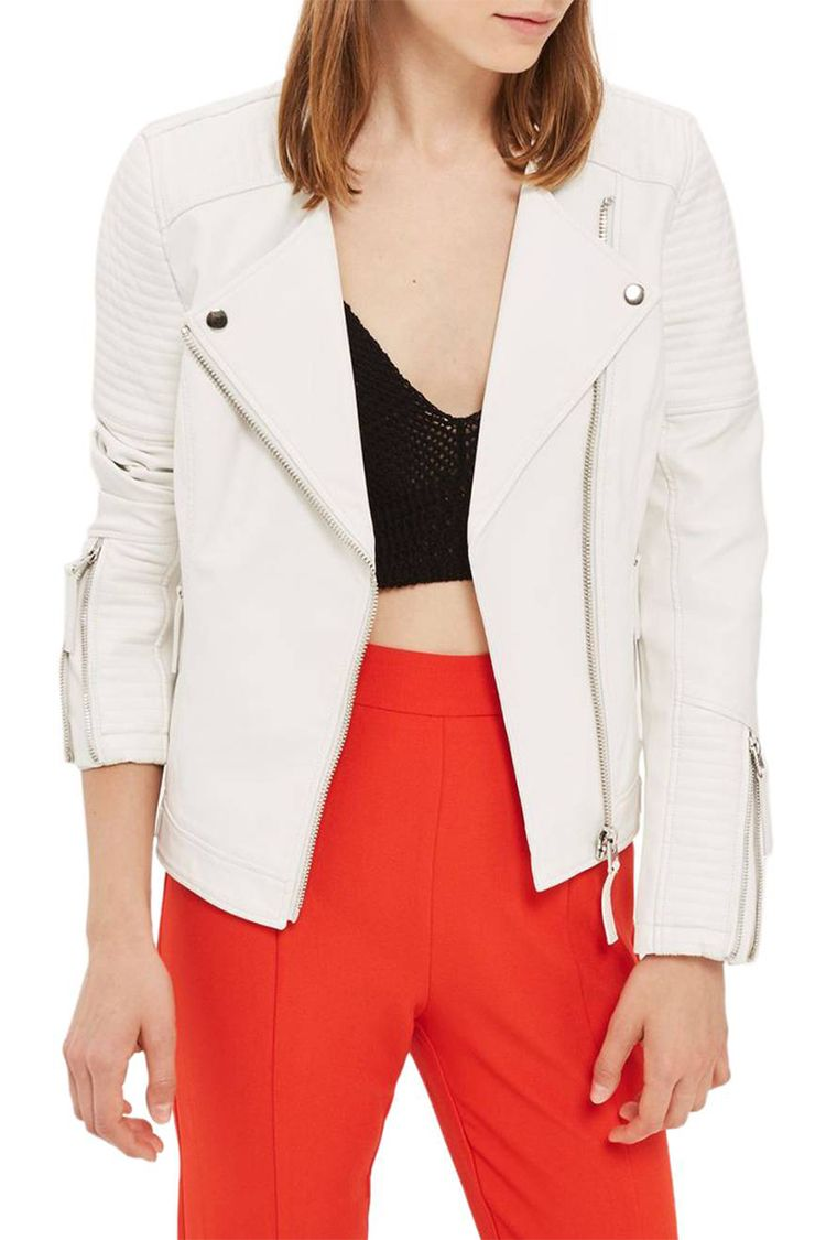 topshop white faux leather jacket