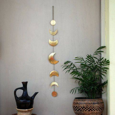 Carmel's Art Moon Phases Brass Wall Hanging