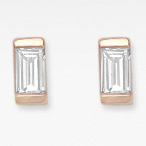 vrai and oro baguette diamond stud earrings