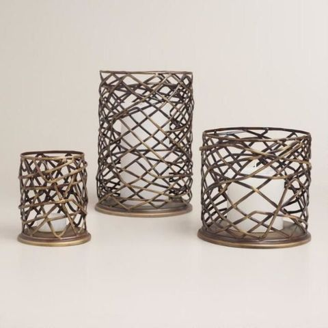 World Market Woven Metal Brookyn Hurricane Candleholder