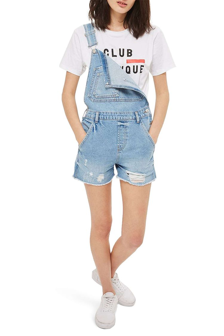 topshop denim short overalls