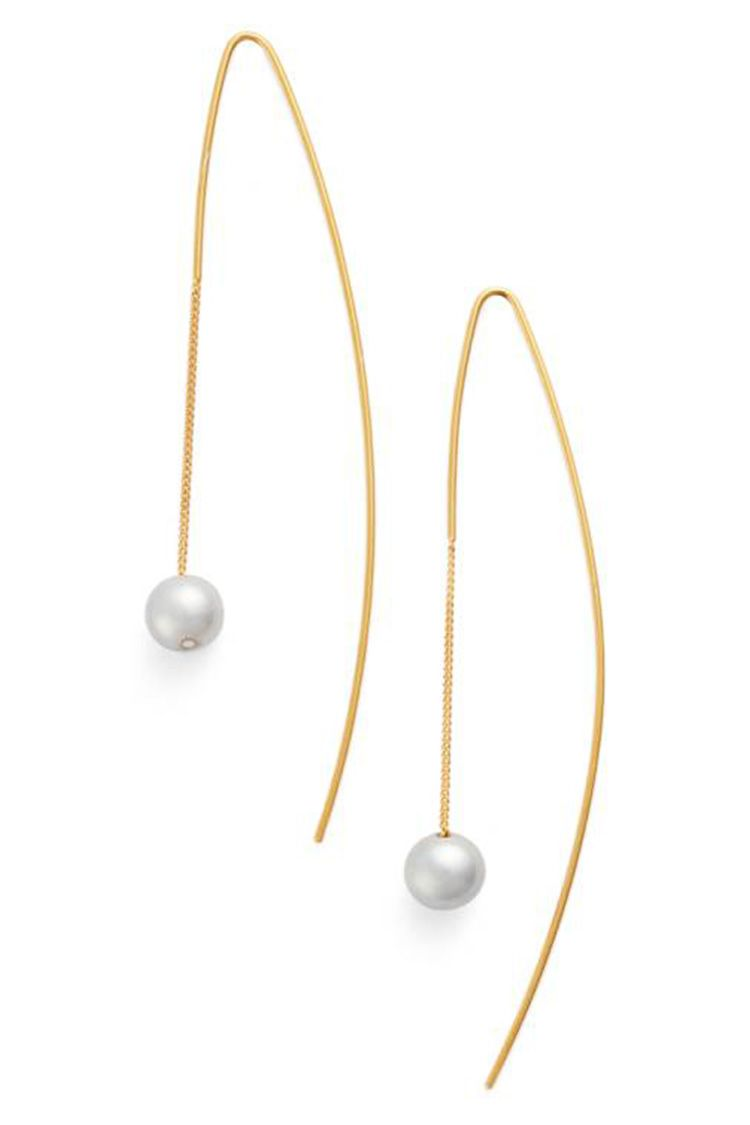 chan luu gold pearl threader earrings
