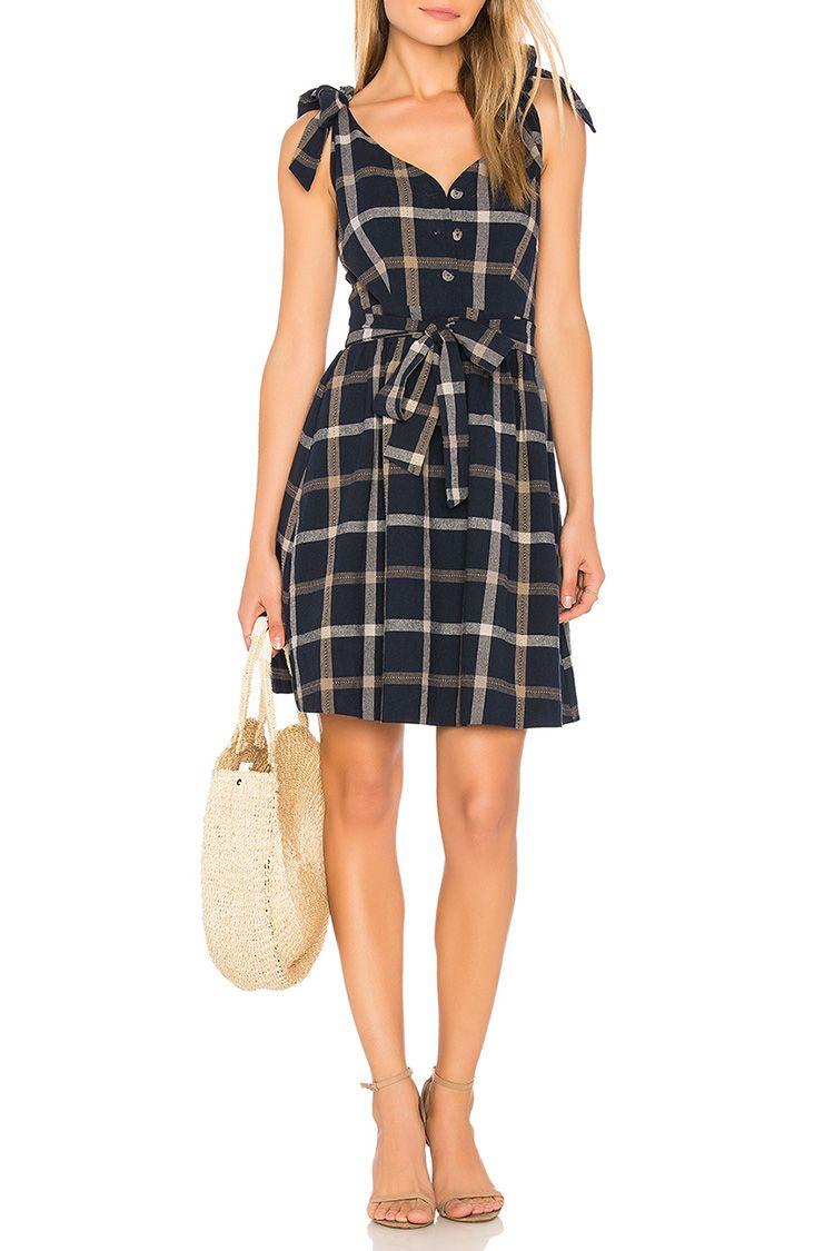 j.o.a. plaid tie shoulder dress