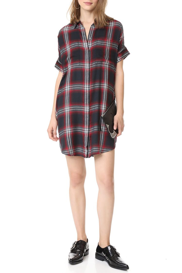 madewell plaid courier dress red
