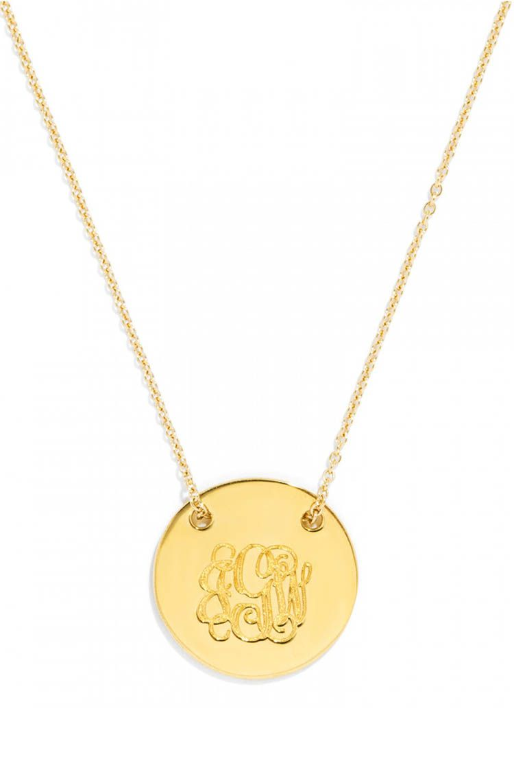 baublebar Threaded Medium Disc Monogram Pendant gold