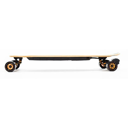 """<p><strong data-redactor-tag=""""strong""""><em data-redactor-tag=""""em"""">$1,100&nbsp&#x3B;<a href=""""https://evolveskateboardsusa.com/collections/complete-skatebaords/products/bamboo-one"""" target=""""_blank"""" class=""""slide-buy--button"""" data-tracking-id=""""recirc-text-link"""">BUY NOW</a></em></strong></p><p><strong data-redactor-tag=""""strong"""">Best for Eye-Catching Design</strong></p><p>The Bamboo One sports an old-school design, but it features new-school tech. Its single 2,000-watt brushless motor propels riders up to 22 miles per hour. The board's lithium battery gives riders a 21-mile range, and it takes 3.5 hours to recharge. The deck is 37 inches long and features an added kicktail in its rear. This board is for street use only, and it doesn't work for rough terrains.</p><p><strong data-verified=""""redactor"""" data-redactor-tag=""""strong"""">Related:&nbsp&#x3B;</strong><span class=""""redactor-invisible-space"""" data-verified=""""redactor"""" data-redactor-tag=""""span"""" data-redactor-class=""""redactor-invisible-space""""><a href=""""http://www.bestproducts.com/tech/electronics/g2578/best-hoverboards-and-self-balancing-scooters/"""" data-tracking-id=""""recirc-text-link"""">If You Prefer Two Wheels to Four, Check Out Our Reviews of Hoverboards</a></span><br></p>"""