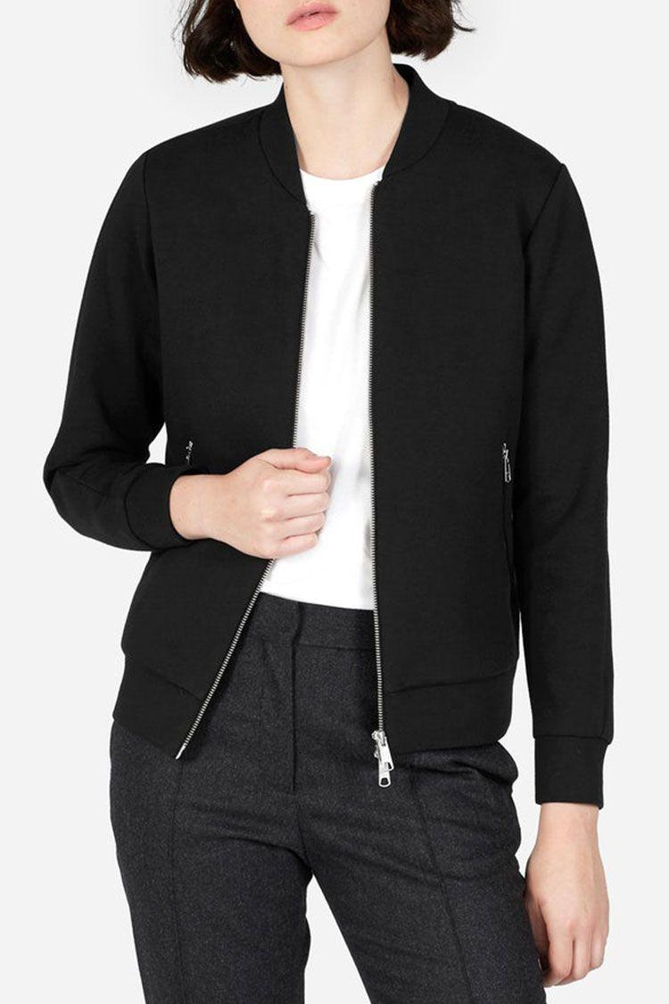 everlane street fleece bomber jacket in black