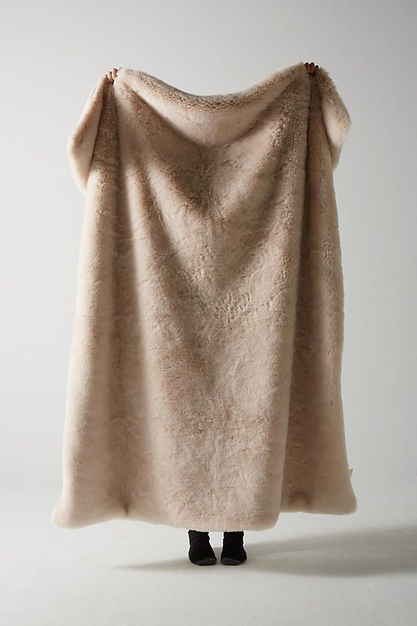 Anthropologie Fireside Faux Fur Throw Blanket