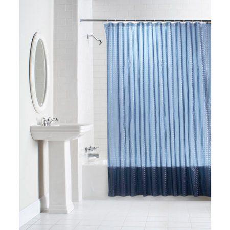 Curtain, Shower curtain, Window treatment, Blue, Interior design, Window covering, Textile, Room, Bathroom accessory, Beige,