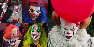 images of people in clown costumes after the it screening at alamo drafthouse in austin texas