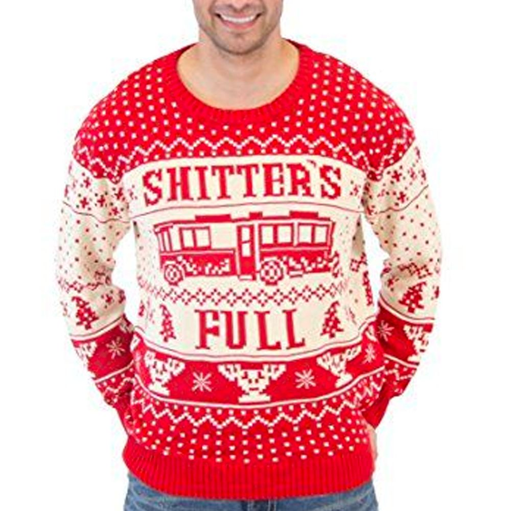 Shitters Full Christmas Vacation Red And White Knit Sweater
