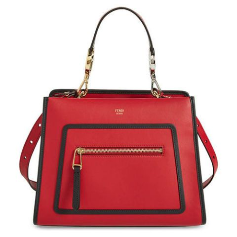 fendi small runaway red leather satchel bag