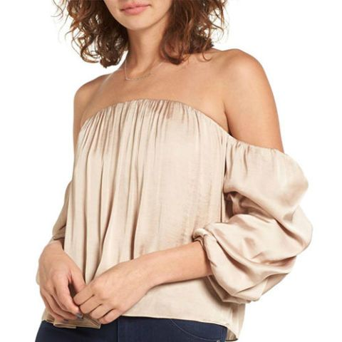 Leith Gathered Satin Off-the-Shoulder Top