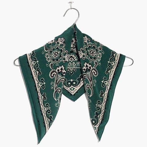 madewell silk bandana in green