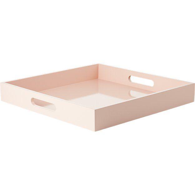 CB2 Hi-Gloss Square Pink Tray