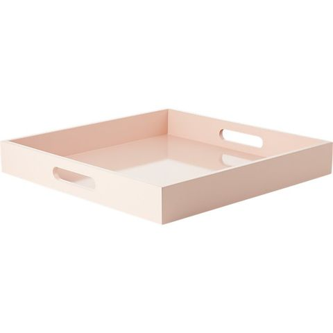 CB2 Hi-Gloss Square Pink Tray