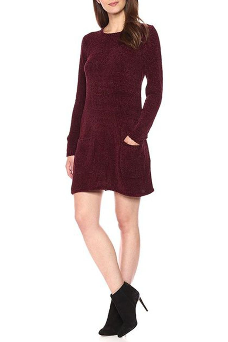 bb dakota beverly sweater dress in wine