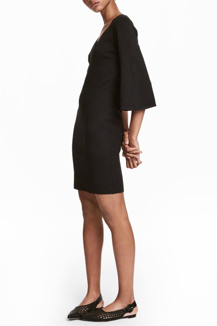 h&m knit flared sleeve dress black