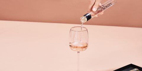 Wine glass, Product, Pink, Stemware, Drink, Wine bottle, Glass, Wine cocktail, Glass bottle, Drinkware,