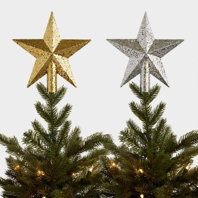 World Market Glittered Star Tree Toppers